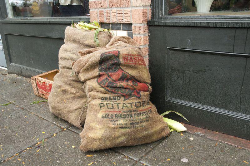 Corn in potato sacks