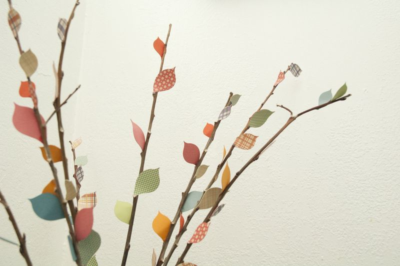 Paper leaves closeup